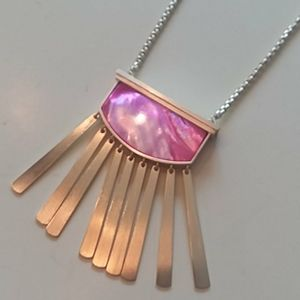 Kendra Scott Ellen Pink Gold tassel necklace new